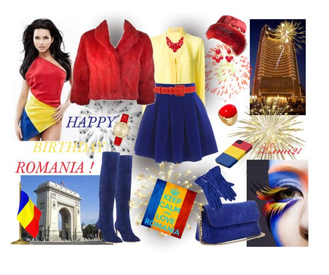 HAPPY BIRTHDAY ROMANIA! by lumi-21 on Polyvore featuring Etro, Joie, Express, Alexa Starr, Vincent Pradier, Oscar de la Renta, French Connection, Zuhair Murad, colorcombo and Romania