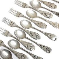Cake forks and tea spoons set of 18 by Thorvald Bindesboll