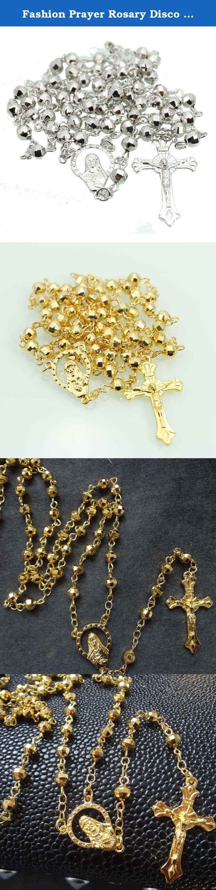 Fashion Prayer Rosary Disco Ball Beads Rosaries Gold Necklace for Men Cross (Silver). Fashion Prayer Rosary Disco Ball Beads Rosaries Gold Necklace for Men Cross product standard: 6MM Brass Ball Beads 59pcs rosary From losber to cross 16inch (40.64cm) Circle chain 12.5inch (75cm) Center to cross 5.5inch (14cm) Net: 30g.