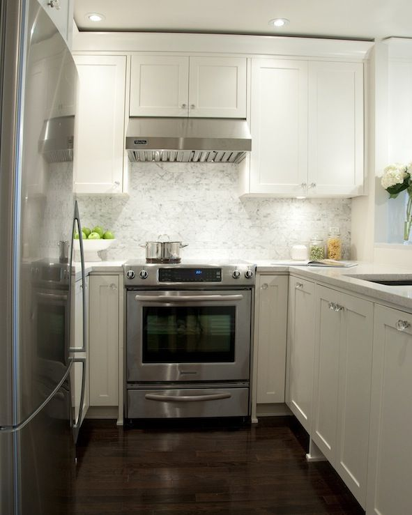 Kitchens white shaker kitchen cabinets granite countertops white carrara marble subway tiles - Cabinets for small kitchens designs ...