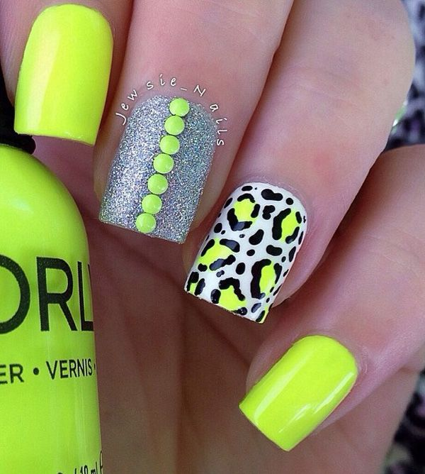 Bright and sunny colored leopard nail art design.  This nail art design has a citrus feel into which makes it look fun and jolly at the same time.