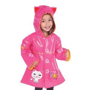The Lucky Cat raincoat from Kidorable is much more than just a raincoat for a little girl.  This rain coat can be worn in the spring, summer and into the fall.  It features a Fun Lucky Cat pocket, a 2nd fish bowl pocket, flower buttons and cute kitty ears.