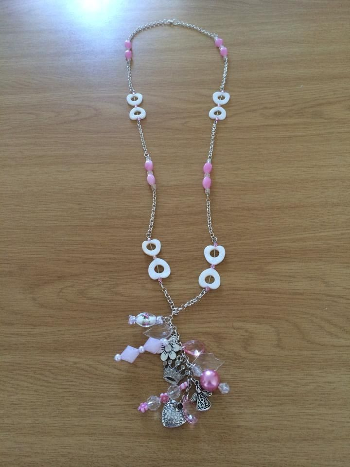 Charm Bracelet Necklace in pink