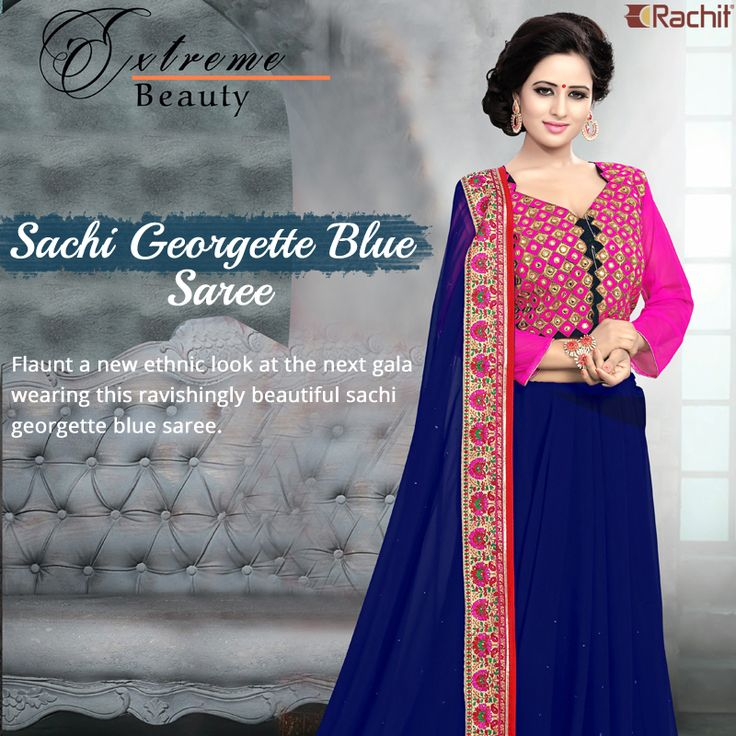 Flaunt a new ethnic look at the next gala wearing this ravishingly beautiful sachi georgette blue saree.
