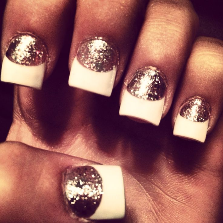 White Tip Nail Designs With Glitter Splendid Wedding Company