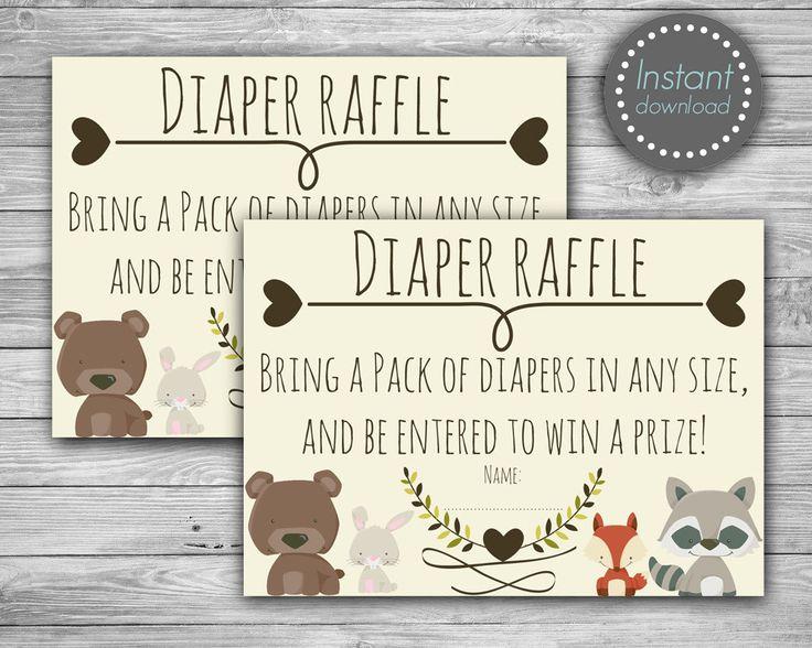 Woodland baby shower diaper raffle tickets printable Diaper
