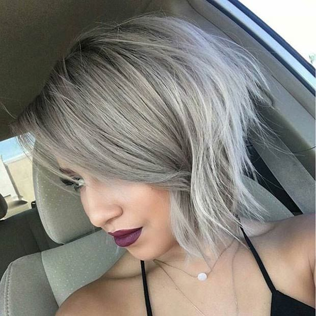 Grey Messy Angled Bob Haircut