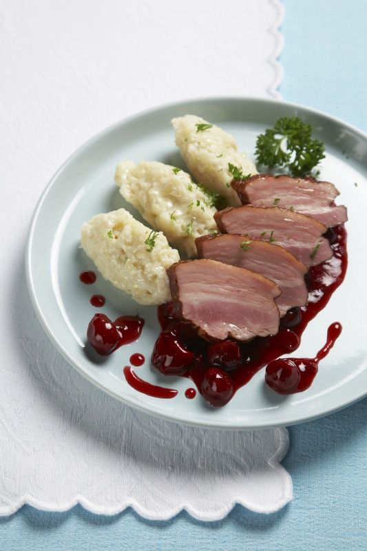"So called ""hairy"" duplings with smoked pork, traditional food of Czechia"