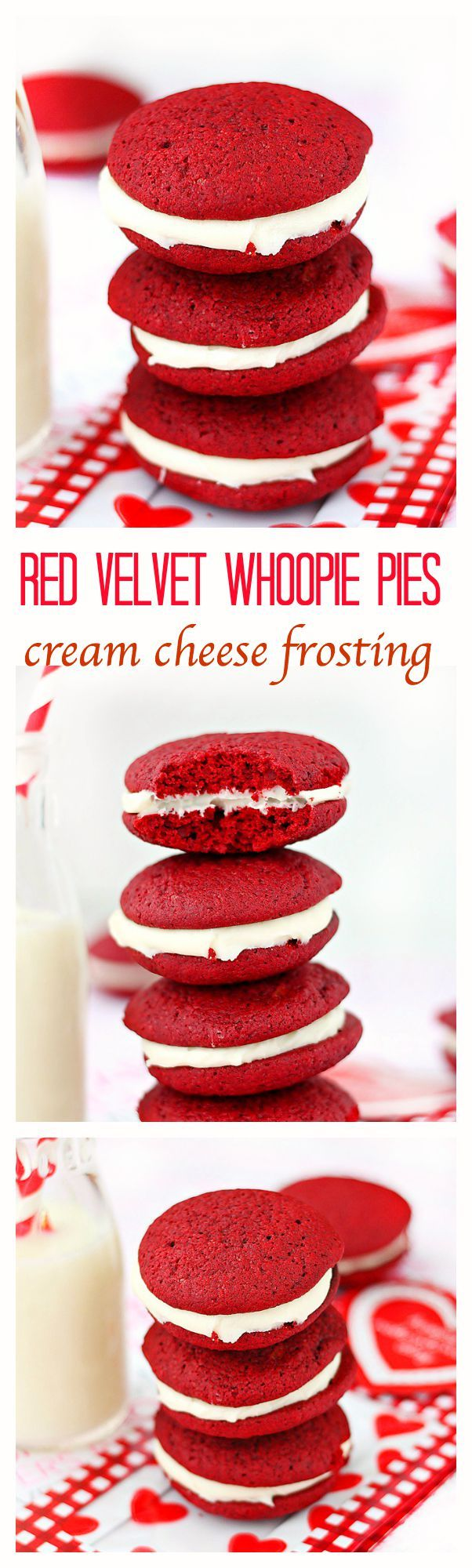 Red velvet whoopie pies with cream cheese frosting – Soft, cake-like red velvet cookies sandwiched with a smooth sweet cream cheese frosting