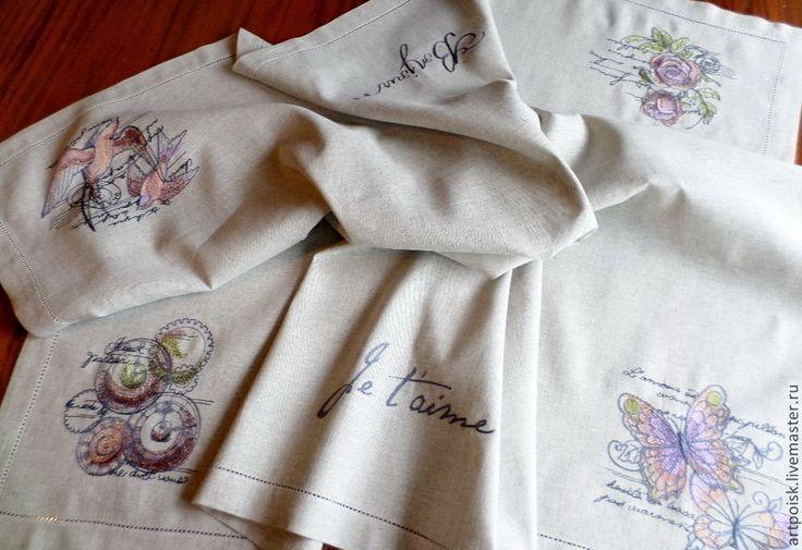 """Купить Скатерть """"Париж"""" - серый, Машинная вышивка, парижский стиль, скатерть, на стол, лен"""