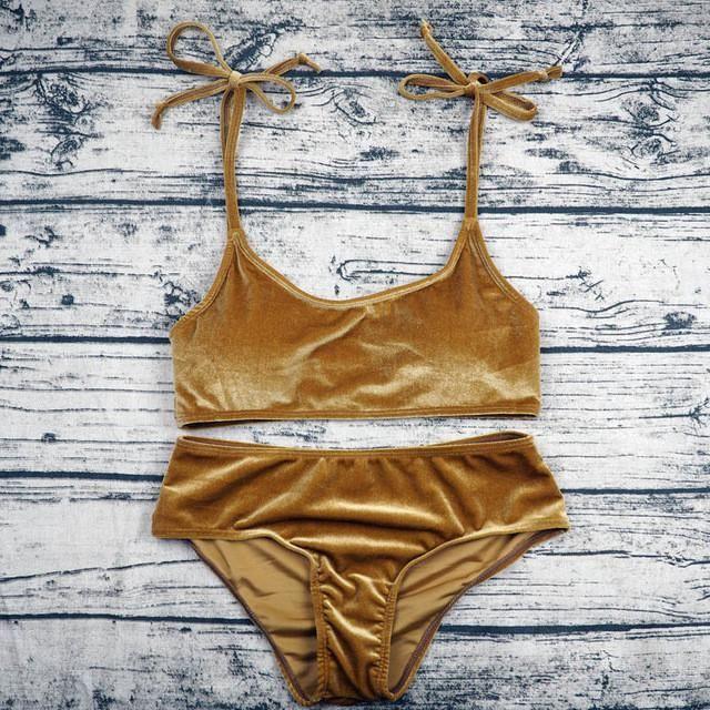 Sexy Brazilian Bikini 2017 Blue Velvet Swimwear Women Swimsuit Push up Biquini