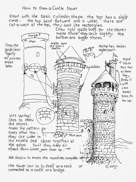 A free how to draw worksheet for the young artist. see more at my Blog. http://drawinglessonsfortheyoungartist.blogspot.com/2013/10/how-to-draw-castle-tower-worksheet.html