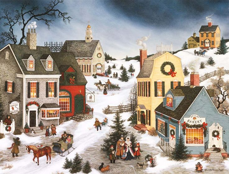 Caroling In The Village Christmas Cards 1004659 Lang