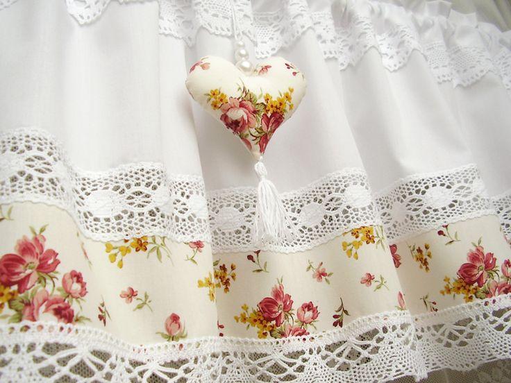 Shabby Chic Landhaus Gardine Rose Vintage Weiss 237 Von Bluebasar Via Dawanda