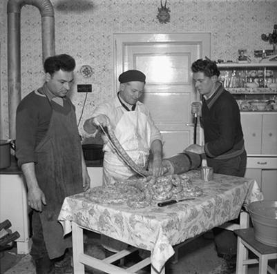 Making sausage, 1956 (photo: TASR / News Agency of the Slovak Republic, http://nasenovinky.sk)