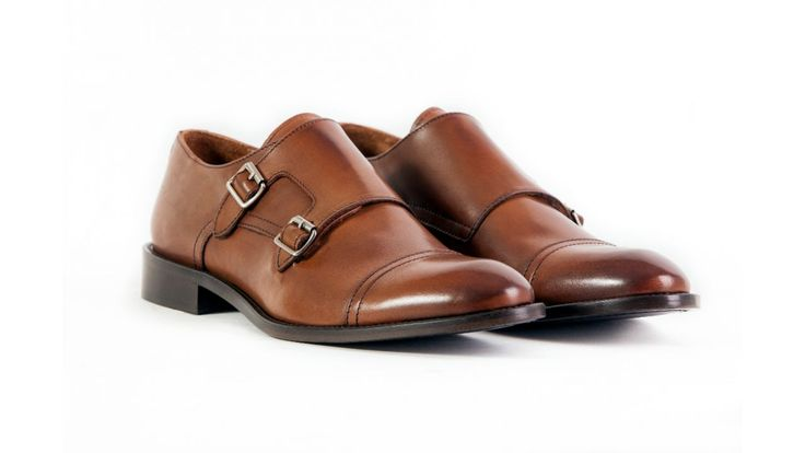 double buckle monk shoe light brown