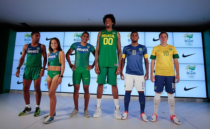 Olympic kit designs: Members of the Brazilian athletics team present the official uniforms