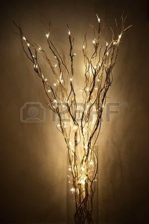 lámpara hecha de braches con luz LED en un frasco de vidrio cerca de una pared