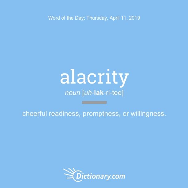 alacrity | Great Words | Word of the day, Words, Rare words