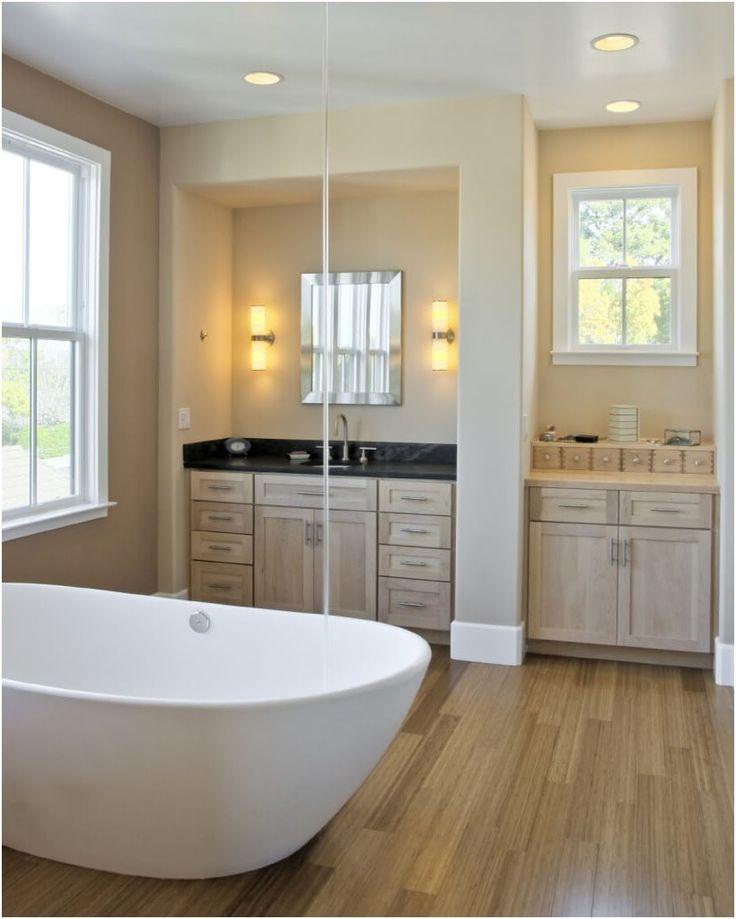 wood floors bathroom best 25 wood floor bathroom ideas only on from Bathrooms With Hardwood Floors