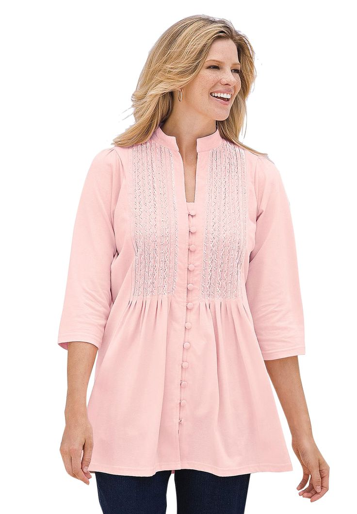 Tunic top in knit is pleated, pintucked, embroidered | Plus Size 3/4 sleeve | OneStopPlus