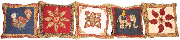 Lot of Five Patch-work Cushion Covers from Dehradun with Kantha Stitch Embroidery