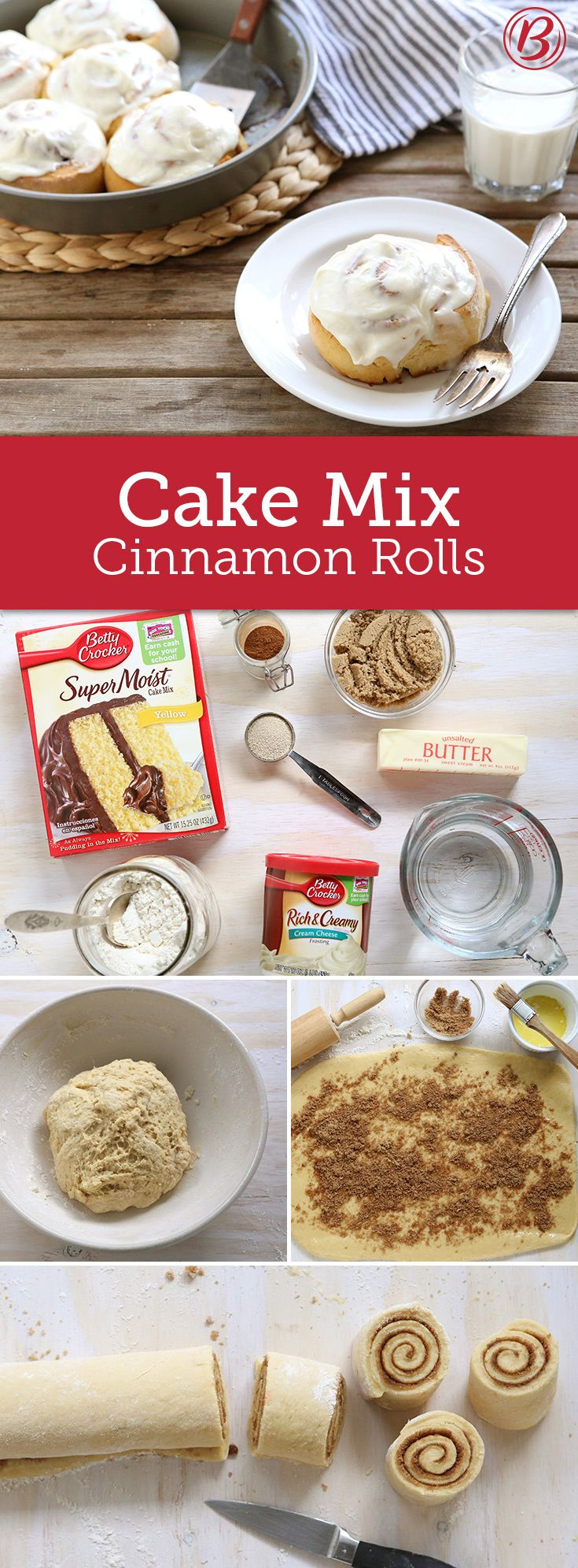 Who can resist homemade cinnamon rolls? This easy-to-make recipe comes together in a snap thanks to Betty Crocker cake mix and frosting. Homemade taste and shortcut convenience!