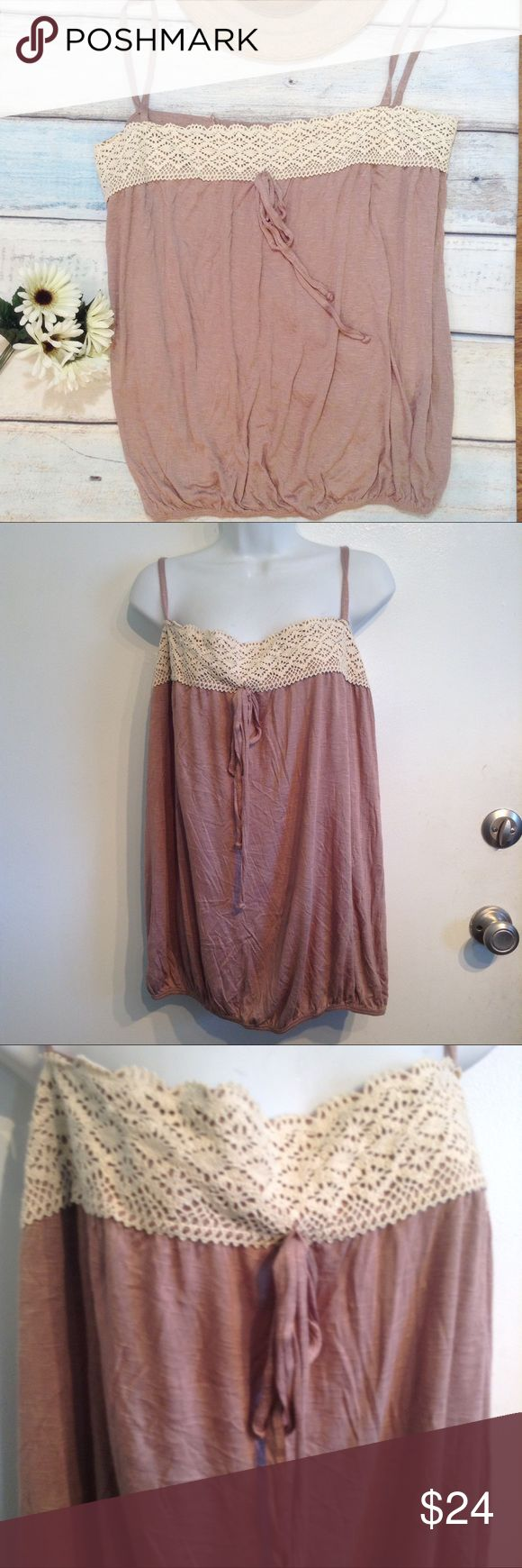 🍂5for$25🍂NWT PLUS SIZE Neutral Crochet Tank Top New with tag, though tag has been ripped in half. Plus soze neutral brown tank top with cream crochet trim. Smocked elastic in back for a comfortable and flattering fit. Size 2xl. No modeling. Smoke free home. I do discount bundles. Caren Sport Tops Tank Tops