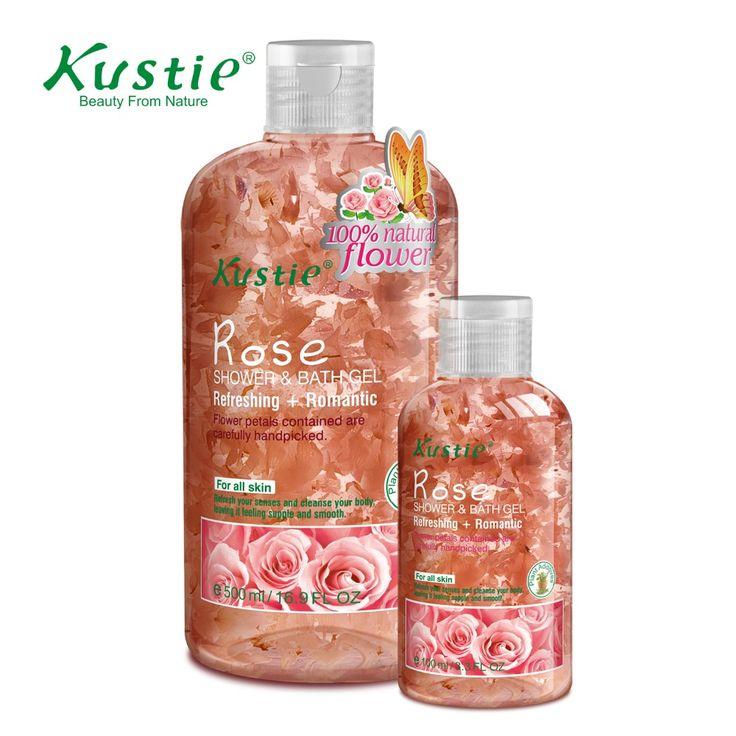 Kustie Romantic Rose Petals Bath Gel for Skin Refreshing (500ml+100ml Value Pack)
