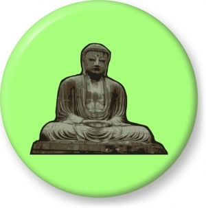 Vector illustration of statue of buddha - Button Badge - Brooch - Gift