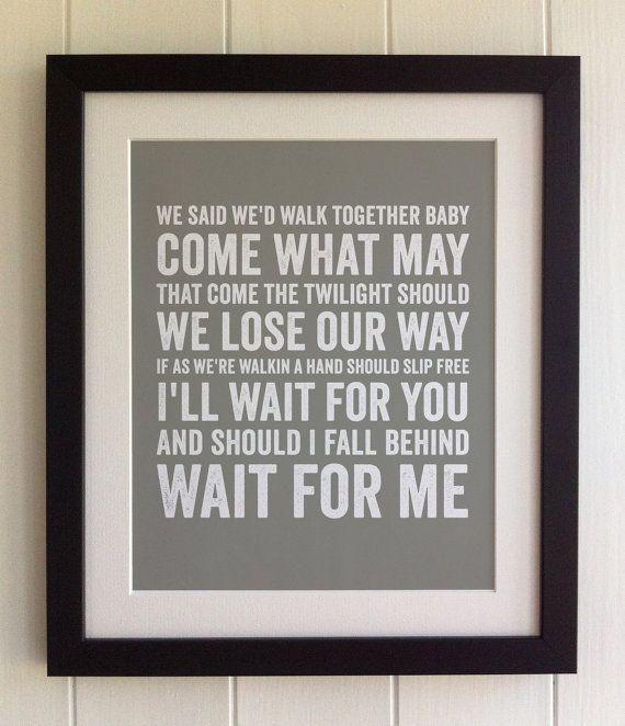 FRAMED Lyrics Print - Bruce Springsteen, If I Should Fall Behind - 20 Colours options, Black/White Frame, Wedding, Anniversary, Valentines