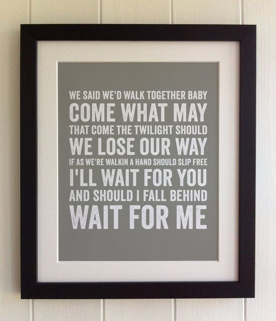 FRAMED Lyrics Print - Bruce Springsteen, If I Should Fall Behind - 20 Colours options, Black/White Frame, Wedding, Anniversary, Valentines