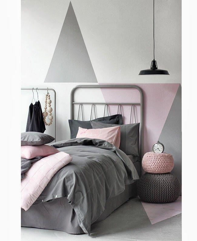 grijs roze slaapkamer  / grey pink bedroom