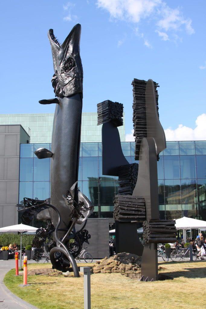Huge pike statue in Helsinki