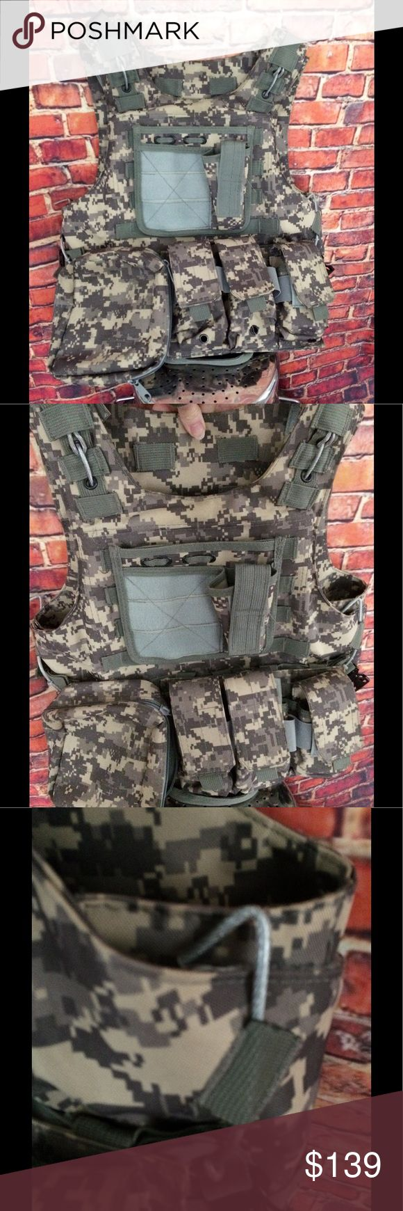 Camo tactical vest with wire release extra pockets Camouflage plate carrier tactical assault gear quick release wire ammo hold Vest.  It comes with five packets with room for more. The measurements are:  Pitt to pit 20 inches but can you just out or in a couple of inches on each side with hook and loop closure. Jackets & Coats Vests