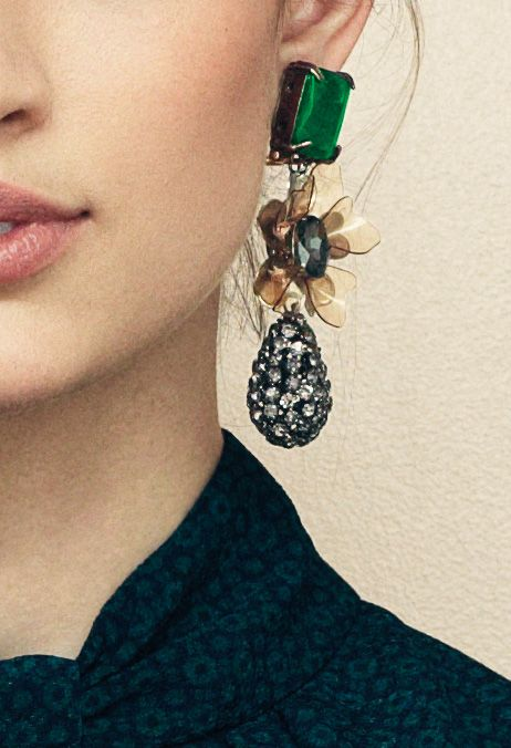 Tory Burch Emerald Stone Diamante Tear Drop Earring: Big Earrings, Fashion, Drop Earrings, Emeralds Stones, Tory Burch, Statement Earrings, Emeralds Earrings, Accessories, Tear Drop