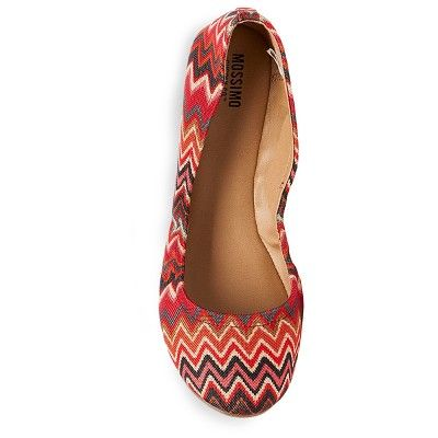 Women's Ona Wide Width Round Toe Ballet Flats - Mossimo Supply Co. 5.5W Red, Size: 5.5 Wide, Multi-Colored