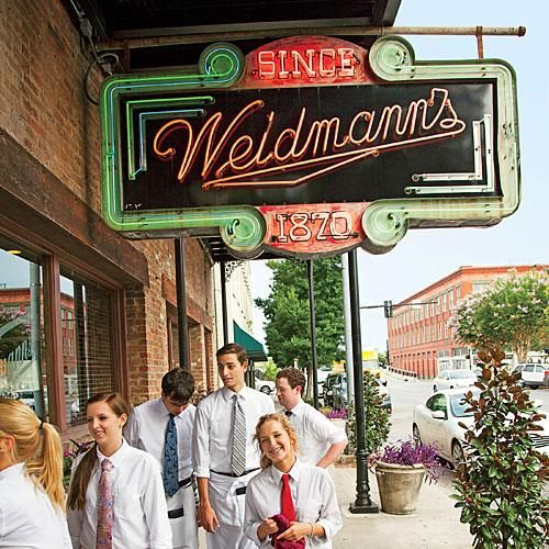 The exposed-brick Weidmann's has been serving Meridian since 1870, ever since Felix Weidmann, a Swiss chef, settled here. | SouthernLiving.com