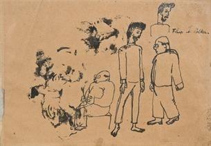 Frits van den Berghe - FLUP ET POLKA; Medium: India ink on brown paper
