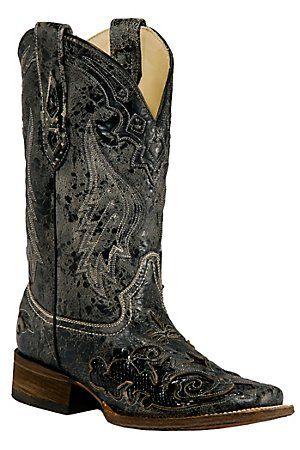 Corral Ladies Distress Black w/Black Inlay Squared Toe Boots...