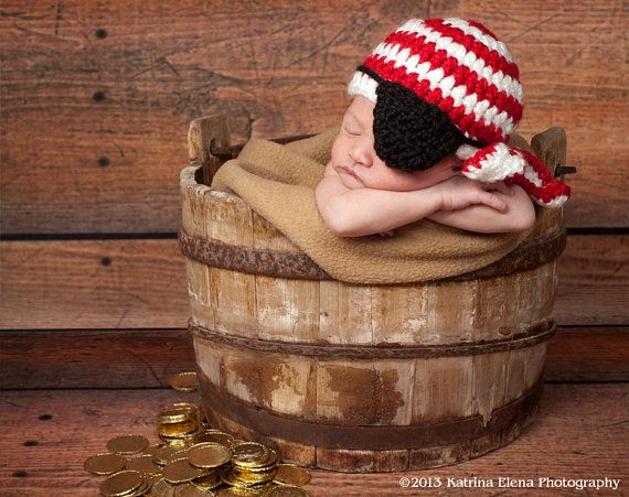 Pirate Hat and Eye Patch/Newborn Photo Prop by WillowsGarden, $20.00