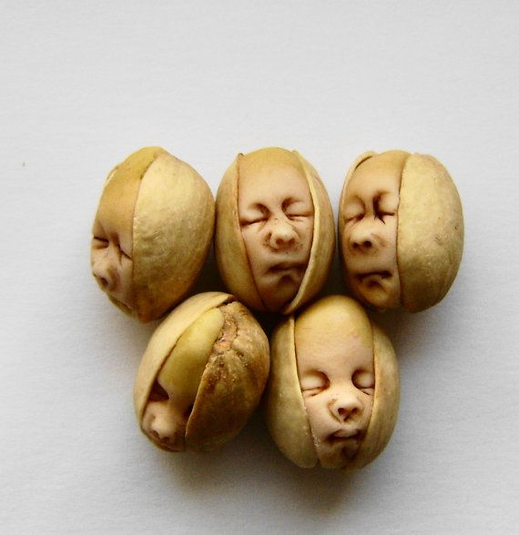 Jackie Mullins a handful of pistachio nuts: Artists, Polymer Clay Sculptures, Artist Jackymullen, Pistachios, Pistachio Earrings, Baby Pistachio, Polymers