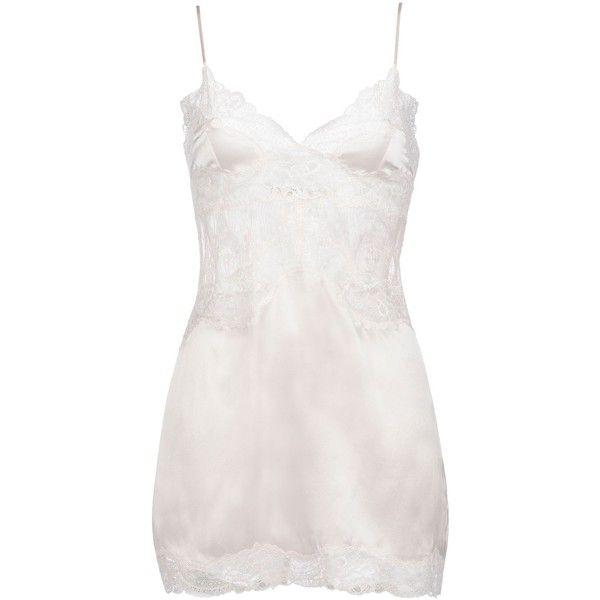 Stella McCartney Kate Kissing Chemise ($260) ❤ liked on Polyvore featuring intimates, chemises, floral white, white chemise, v neck lace camisole, white lace camisole, lace cami and v neck camisole