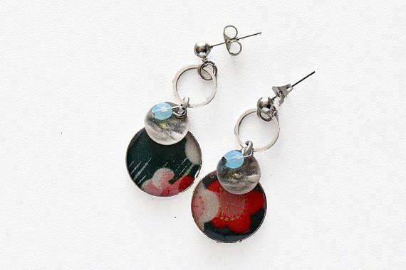 Boucles d'oreilles pendantes fleurs japonisantes