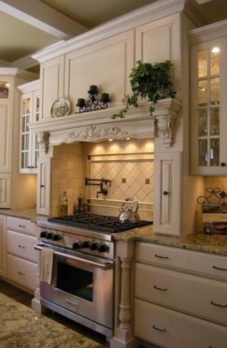 glazed white kitchen cabinet range hood mantle