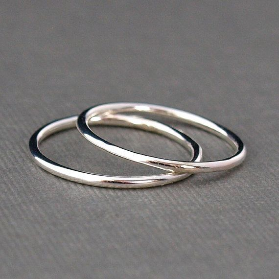 Two Plain Silver Rings  Smooth Silver Bands by CatherineMarissa, $16.00