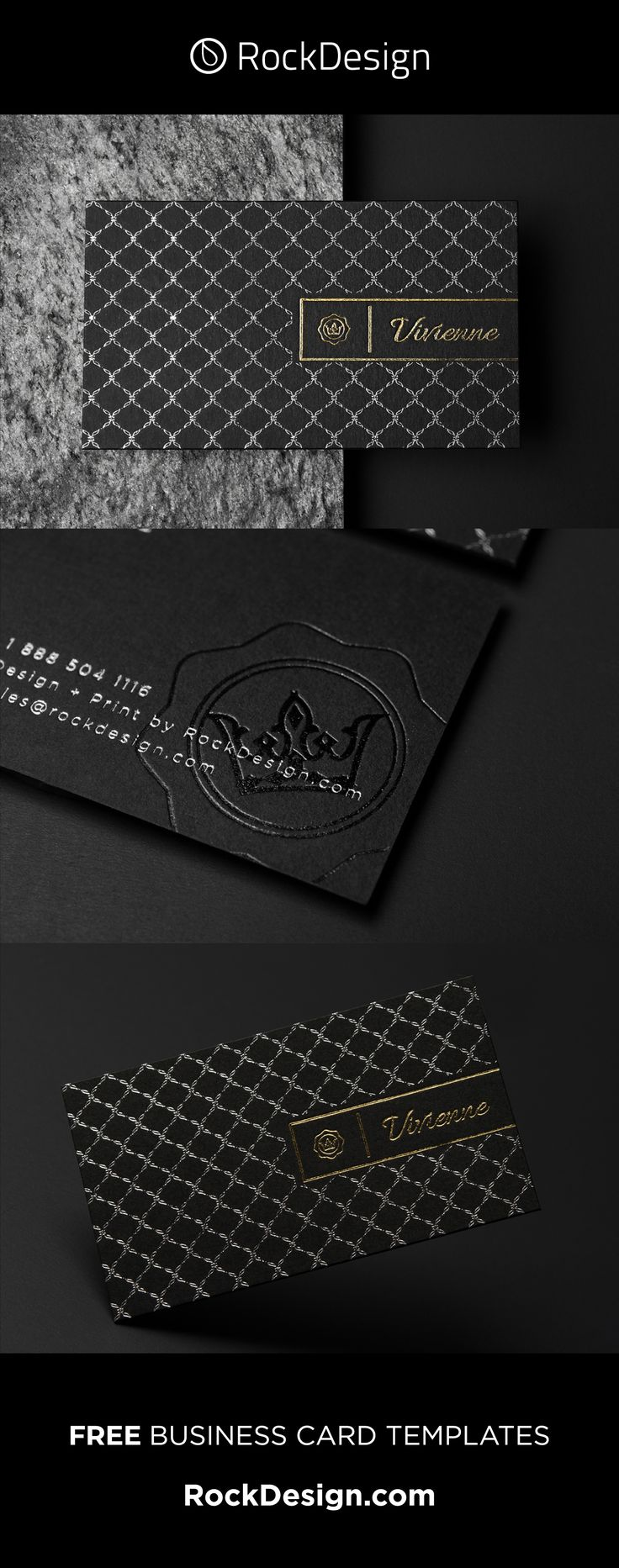 LUXURY PATTERN REAL ESTATE TEMPLATE BLACK DUPLEX BUSINESS CARD – VIVIENNE