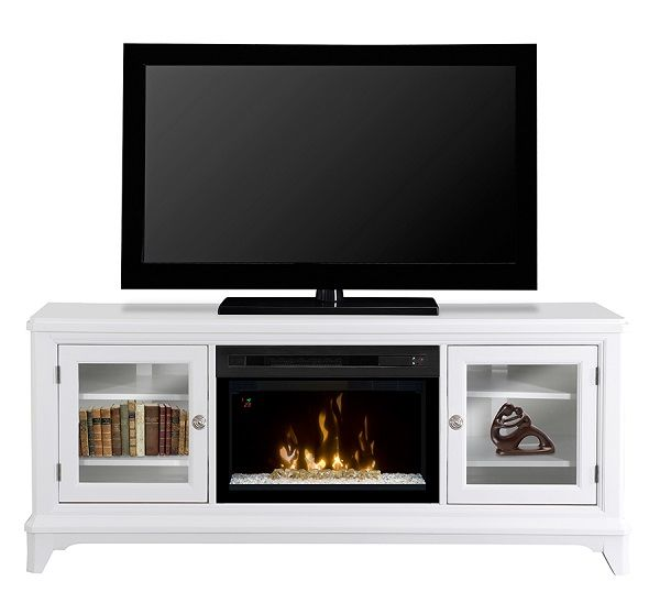 "Dimplex Winterstein White electric fireplace media cabinet with 25"" firebox; $1399 cdn."