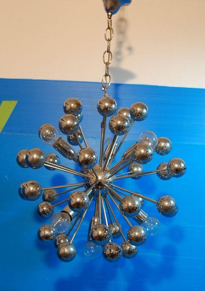 Lampadario SPUTNIK 70 s Deckenlampe/Chrom Kugeln/Ceiling Lamp light/7 Lights