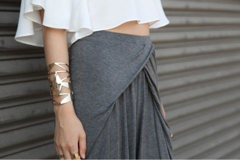 Grey Draped Skirt